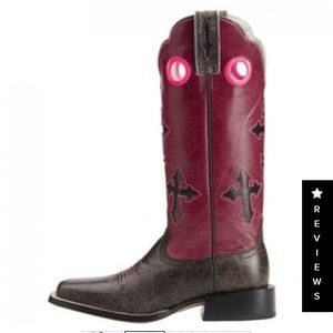 Ariat Ladies Charcoal & Pink Ranchero Cross boots